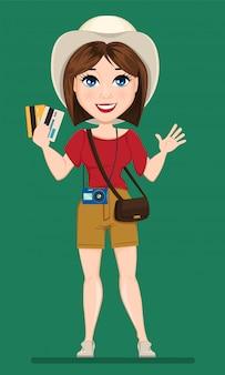 観光女性、旅行者