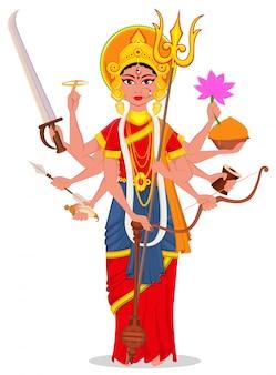 Счастливая душера. маа дурга для индуистского фестиваля.
