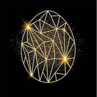 黄金の砂と低ポリスタイルで卵の形