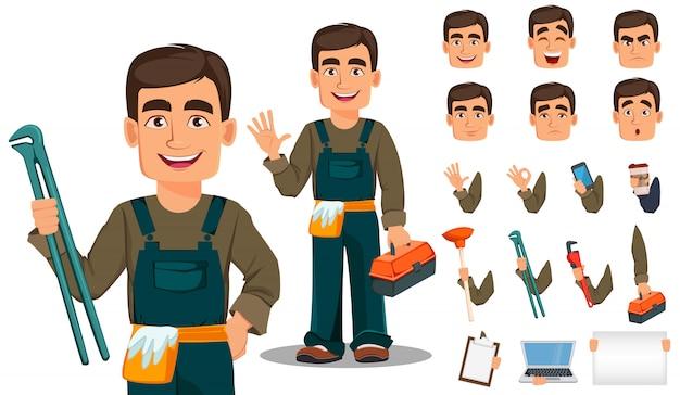 Профессиональный сантехник в униформе