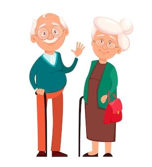 祖母は祖父と一緒に立っています。