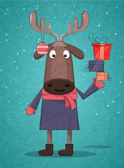 プレゼントを持ってかわいいクリスマス鹿