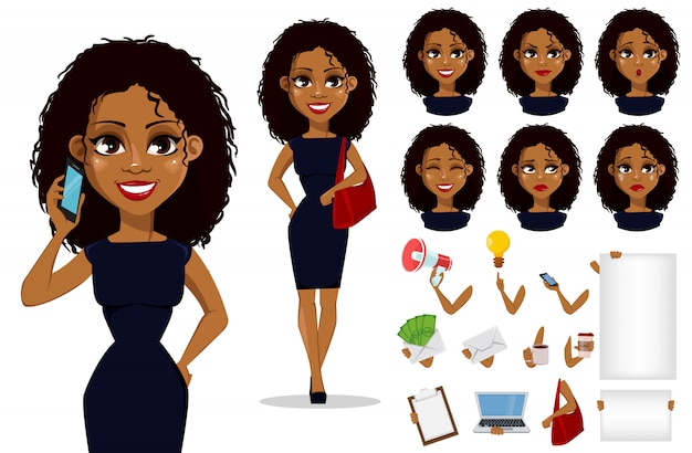 アフリカ系アメリカ人ビジネスの女性の漫画のキャラクター