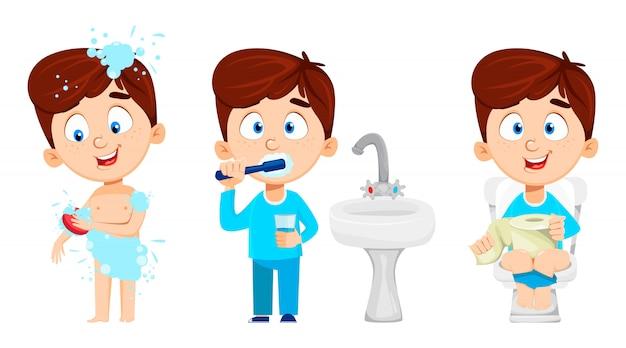 Мальчик в ванной, набор из трех позах.