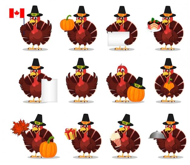 感謝祭。トルコの鳥、セット