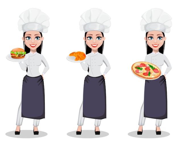 プロの制服を着た美しいパン屋の女性