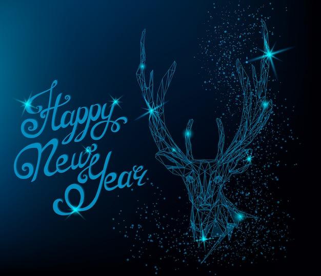 鹿と幸せな新年のグリーティングカード