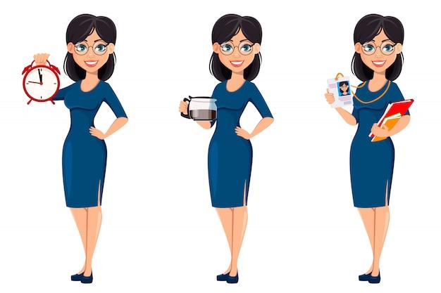 青いドレスの若い美しいビジネス女性