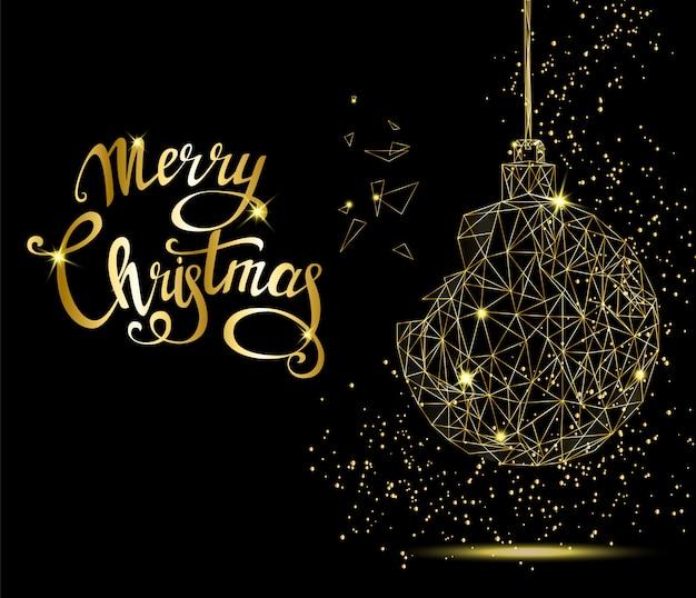 手書きレタリングと黄金のクリスマスツリーのボール。
