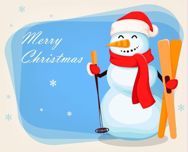 Милый снеговик забавный персонаж мультфильма