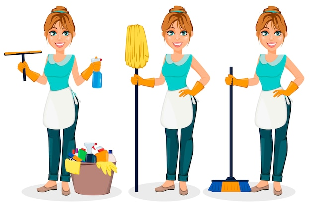 Счастливая домохозяйка веселая мама
