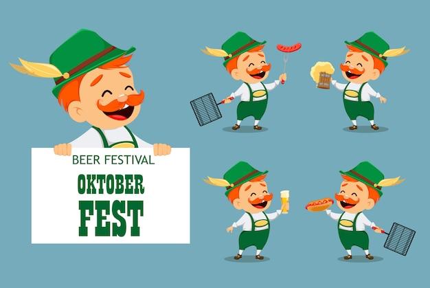 Октоберфест, пивной фестиваль. забавный человек