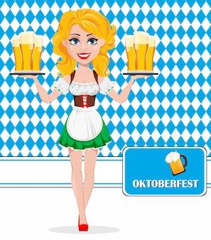 オクトーバーフェスト、ビール祭り。赤毛の女の子