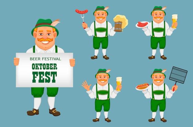 Октоберфест, пивной фестиваль. веселый человек