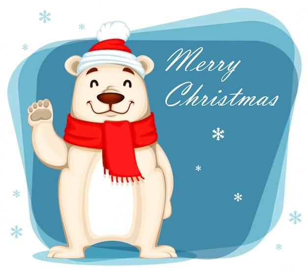 Белый медведь в новогодней шапке и шарфе