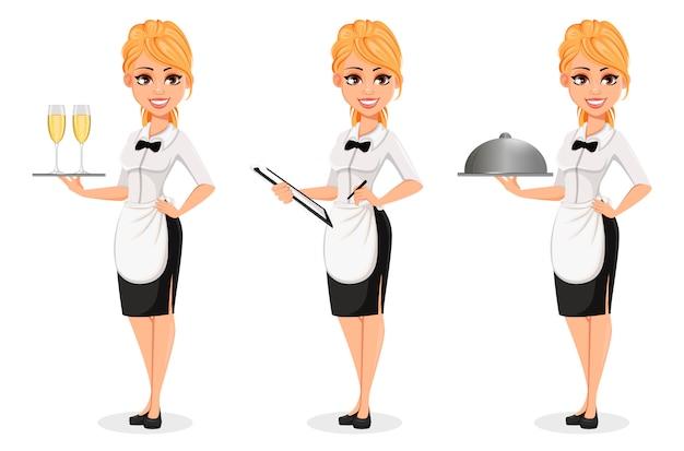 Счастливая блондинка официантка, набор из трех поз
