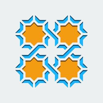 Арабский геометрический абстрактный узор-орнамент-мозаика бесшовный узор