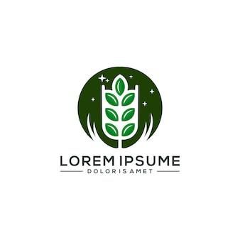 農業のロゴのテンプレートベクトル図