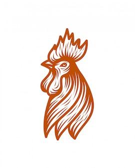 チキンヘッドラインアートのロゴのテンプレートベクトルイラスト