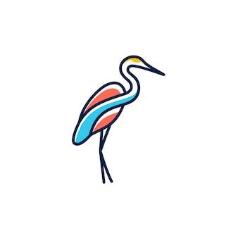 フラミンゴのロゴラインアート概要モノラインベクトル図