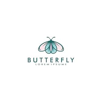 蝶のロゴのテンプレートベクトル図