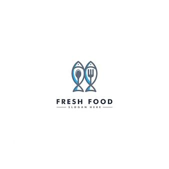 Шаблон логотипа рыбы, значок морепродуктов