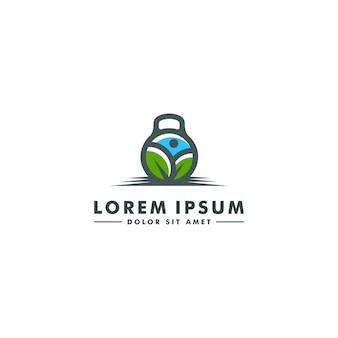 フィットネスジムのロゴのテンプレート。バーベルアイコン