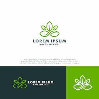 Зеленый лист шаблон логотипа