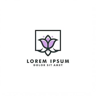 花のロゴのテンプレート、抽象的なチューリップのロゴデザインのベクトル