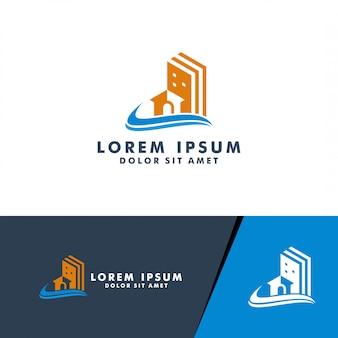 不動産ロゴ、家、ビジネス建設のための家のロゴデザインロゴタイプベクトル