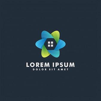円形の家ロゴ抽象的なデザインベクトルテンプレート。ホームサービス家庭用エコロジーグリーンスマートロゴタイプコンセプト