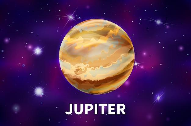 明るい星と星座とカラフルな深宇宙の背景に現実的な木星の惑星
