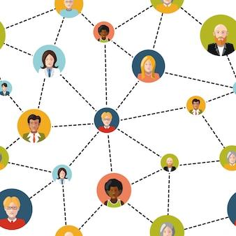 白い背景、シームレスなパターン上の社会的ネットワークの平らな人々のアバター