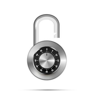 白のコード番号で開いた丸い南京錠
