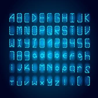 暗闇の中で明るい青いデジタルレトロな時計フォントのセット