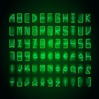 暗闇の中で明るい緑のデジタルレトロな時計フォントのセット