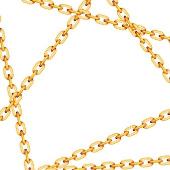 白地に光沢のある黄金の金属交差チェーン