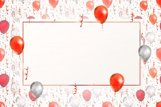 Прекрасный фон с ярко-красным серпантином, конфетти и воздушными шарами на белом