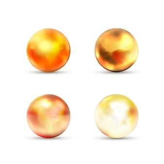 白のまぶしさと黄色の光沢のある大理石のボールのセット