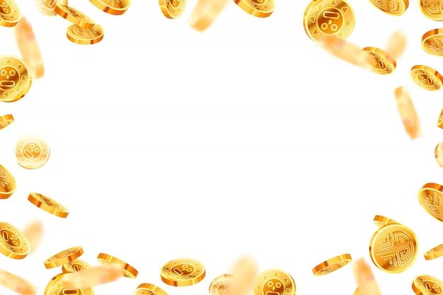 Яркие глянцевые золотые старинные монеты, золотой дождь
