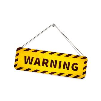 Желтый гранж предупреждающий знак висит на веревке на белом