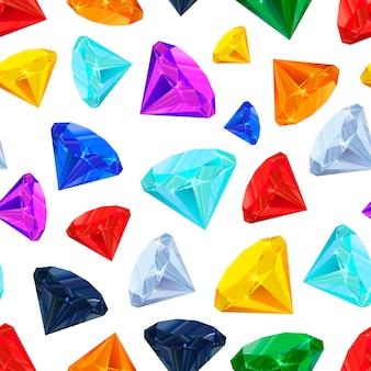 白いシームレスパターンの宝石