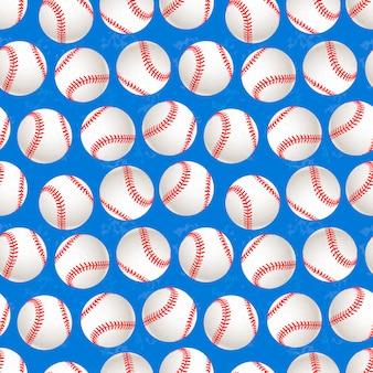 青の背景のシームレスパターンに野球のボールがたくさん
