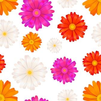 ガーベラの花のシームレスパターン