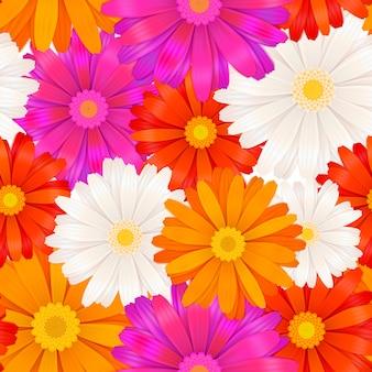 鮮やかな色のガーベラの花のシームレスパターン