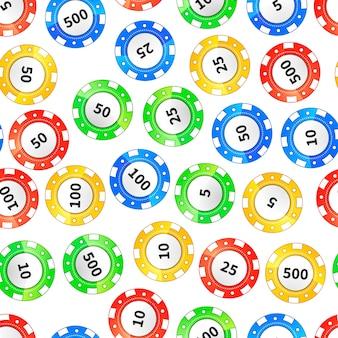 Красочные фишки казино, изолированные на белом бесшовные модели