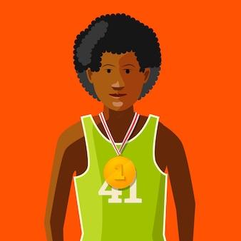 最初の場所、フラットの図のための金目たるを持つアフリカの運動選手