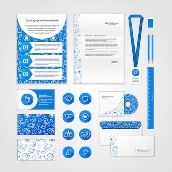 Медицинский дизайн фирменного стиля с современными плоскими иконками. бизнес набор канцелярских товаров