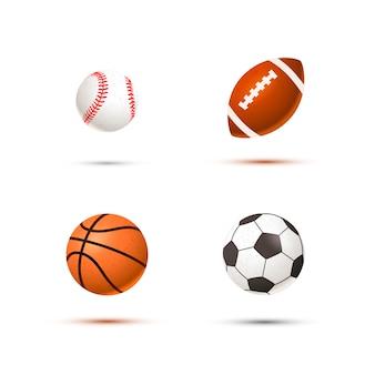 Набор реалистичных спортивных мячей для футбола, баскетбола, бейсбола и регби, изолированные