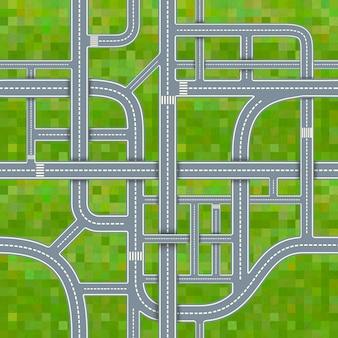 草の背景、シームレスなパターンの道路のジャンクション